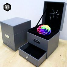 Alibaba China Luxury Black Paper Flower Gift Box With EVA Foam Insert With Lids