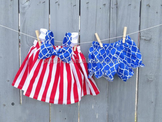 Perfect Girls 4th of July Outfit for that Fun Summer Soft Cotton Kids White and red stripe Tank Top Match bloomer Sets