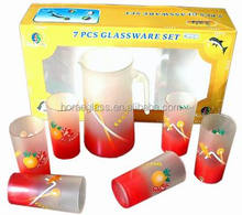Water Bottles/ Kettles/ Pots Free Samples Factory Direct Sale/7PCS GLASS DRINKING SET/WATER JUG AND CUPS