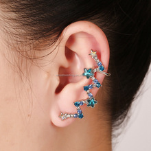 promotion sweet special blue rhinestone hoop huggie earrings for women