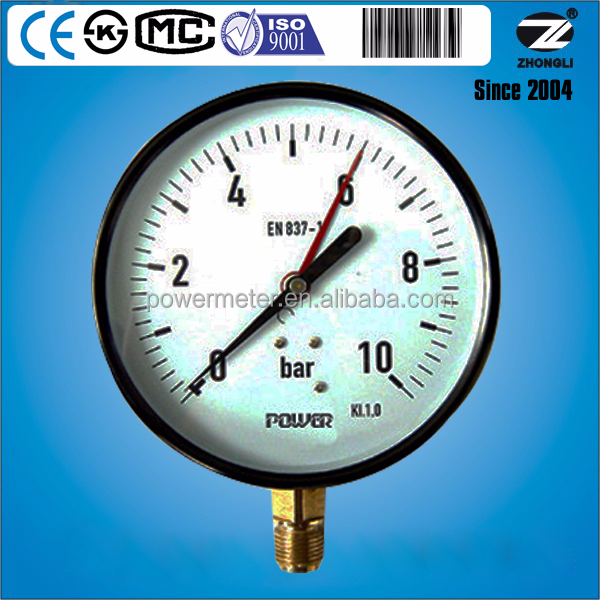 "6"" Double pointer meter 0-10bar bottom connection general pressure gauge/CE"