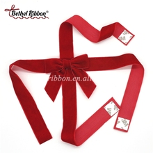 Gift packaging self adhesive red velvet ribbon bow