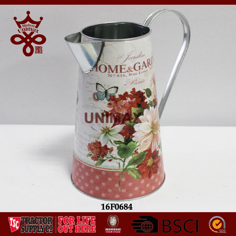 Wholesale galvanized colored printing metal pitcher