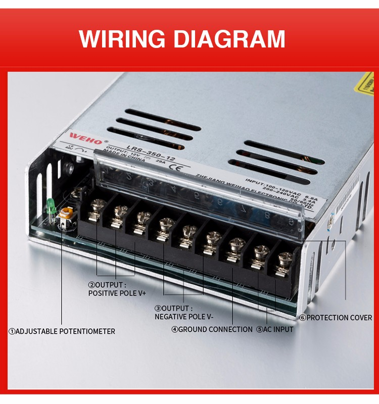 WEHO hot sale LRS-350-24 constant voltage 350w 24v power supply unit for 3D printer