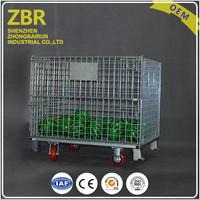 Easy access collapsible mesh wire metal container storage with 4 wheels roll