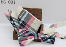 MG Wholesale Men's cotton checker pre-tied adjustable bow tie and pocket square Set