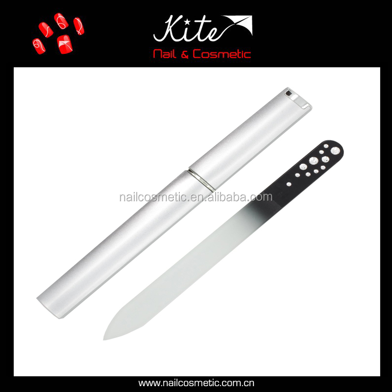 Double Side Glass Nail File Custom Promotional Crystal Glass Nail File with Rhinestone