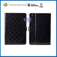 C&T Black grid wallet for ipad mini retro classic pattern leather case with stand