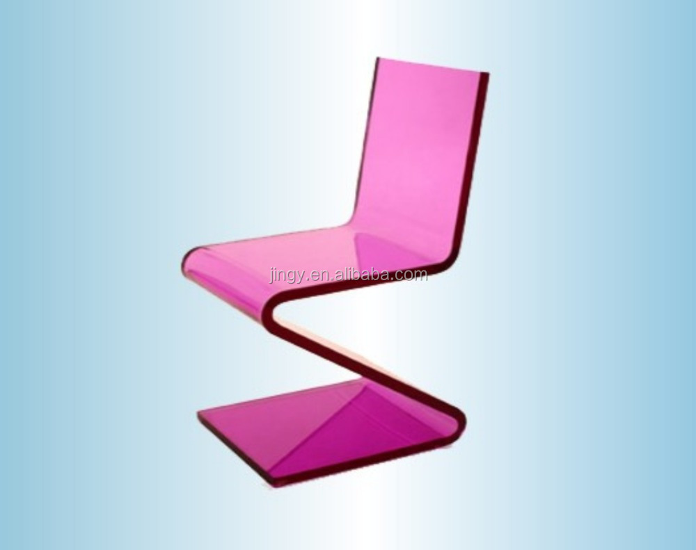 Factory custom pink acrylic furniture chair acrylic z chair z-shaped acrylic chair