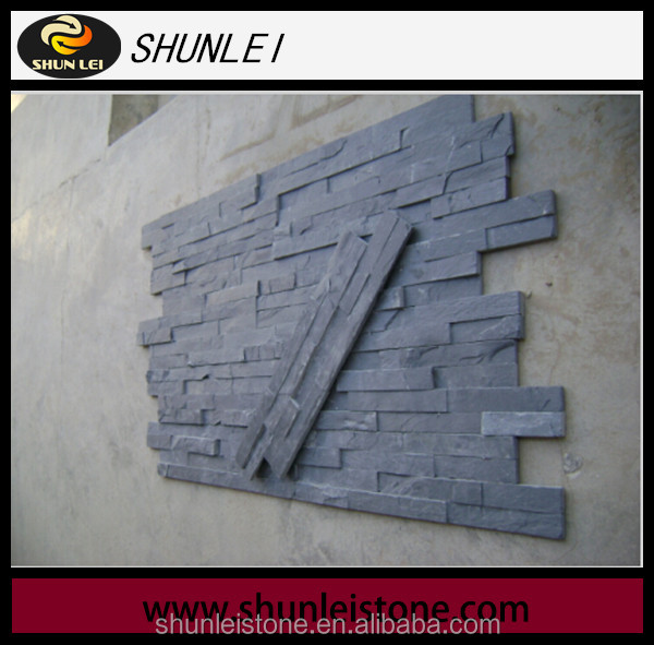 natural black slate decorative stone panel cultured stone retaining walls