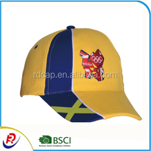 Yellow and Blue Combination 6 Panel Cotton Baseball Cap with Piping New Design Fashion Lively Sports Cap
