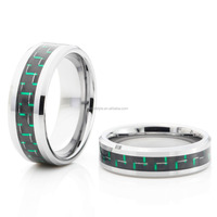 Tungsten carbide ring black & green carbon fiber inlay