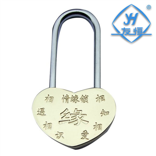 YH1042 Engraving Love Heart Shape Lock Wish Decoration Padlock For Tourists