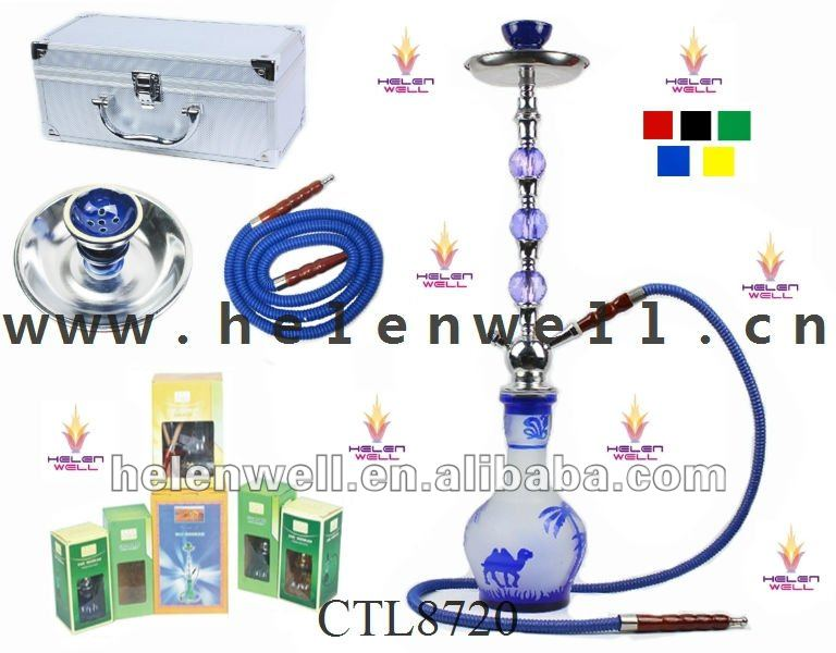 Blue color vase with camel paintting Big size crystal hookah