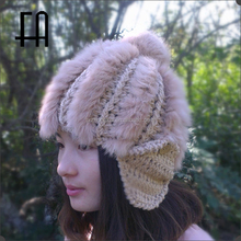 Factory direct wholesale price fashion girl's real rabbit fur pompom knitted hat