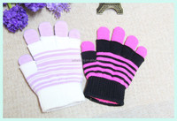 black white striped knit gloves one size fits all
