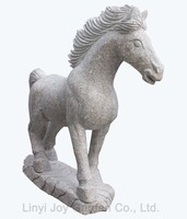 Garden Decorative Pink Granite Small Animal Life Size Horse Stone Outdoor Statues
