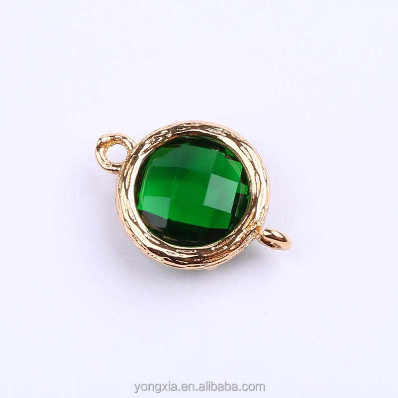 Fashion Gold Plated jewelry Green Rare-earth Glass Connector Jewelry Accessories
