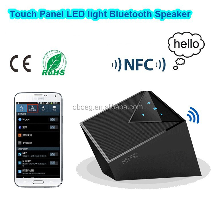 NFC bluetooth speaker blue led lights mobile phone touch screen bluetooth speakers
