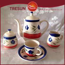 Wholesale handpainted blue flowers ceramic tea pot ceramic pot set handpainted tea set