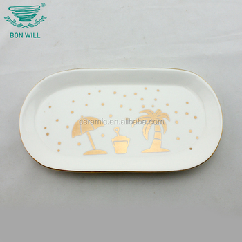 Wholesale bone china cheap high temperature oval shape ceramic plate printing