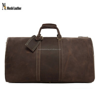 Big Volume Vintage Long Men Leather Duffel Bag Leather Travel Bag 12027
