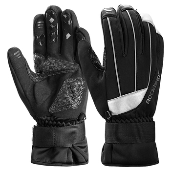 ROCKBROS Winter Thermal Warmer Fleece Windproof Bike Sport Motorcycle Bicycle Equipment Cycling Touch screen Full Finger Gloves