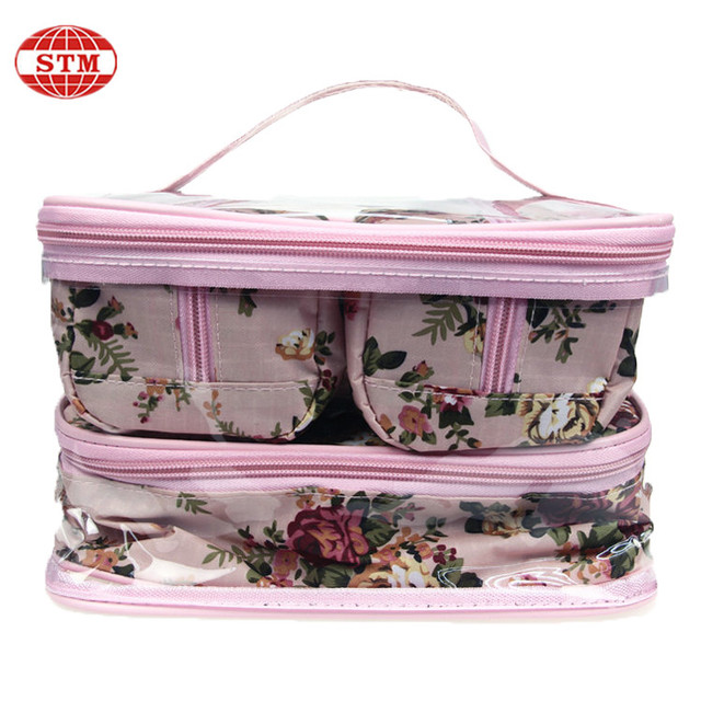 high quality wholesale canvas clear pvc ladies cosmetic bag
