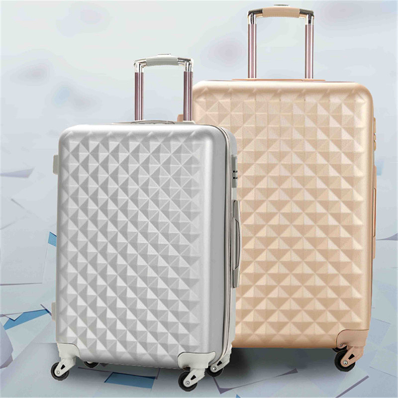 2017 new design diamond lines ABS luggage case cheap PC trolley bag