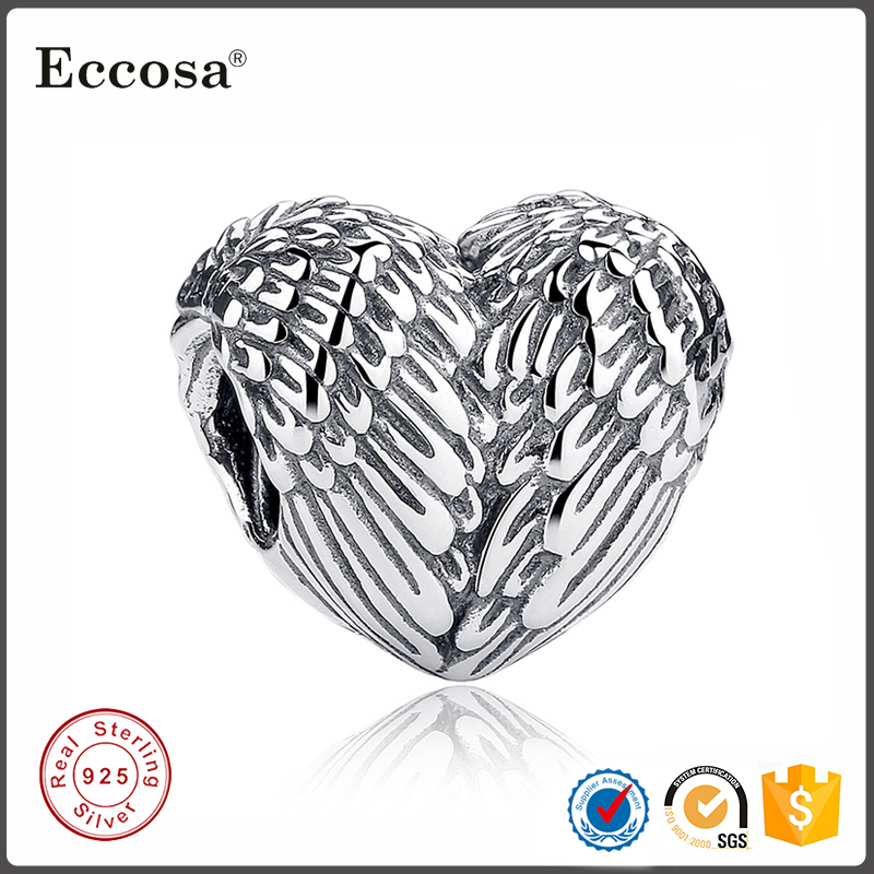 Custom Engraved 925 Sterling Silver Angel Wing Charms Wholesale Fit European Bracelet Jewelry