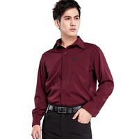 Men business organic cotton lay down collar non iron formal dress shirt