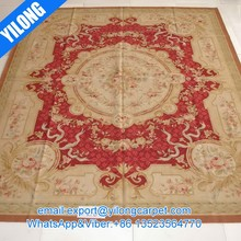 handmade french chinese wool aubusson carpet rug (l-2b)