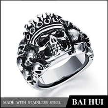 Biahui Jewelry-Stainless Steel Casted Men's King Skull Ring/New Designs Personalized Skull Ring