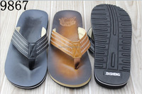 100% Good Quality PU Leather Men's Sandals Slippers