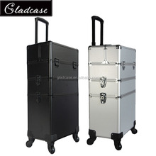 Big storage aluminum makeup beauty train case with trolley and legs