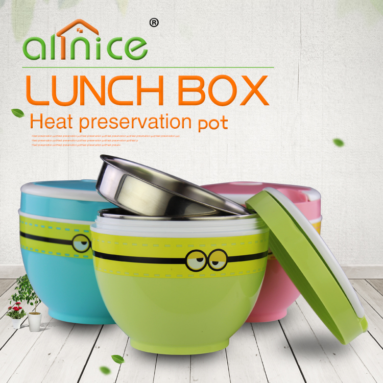 Cartoon stainless steel plastic insulated vacuum food container lunch box for kids with handle