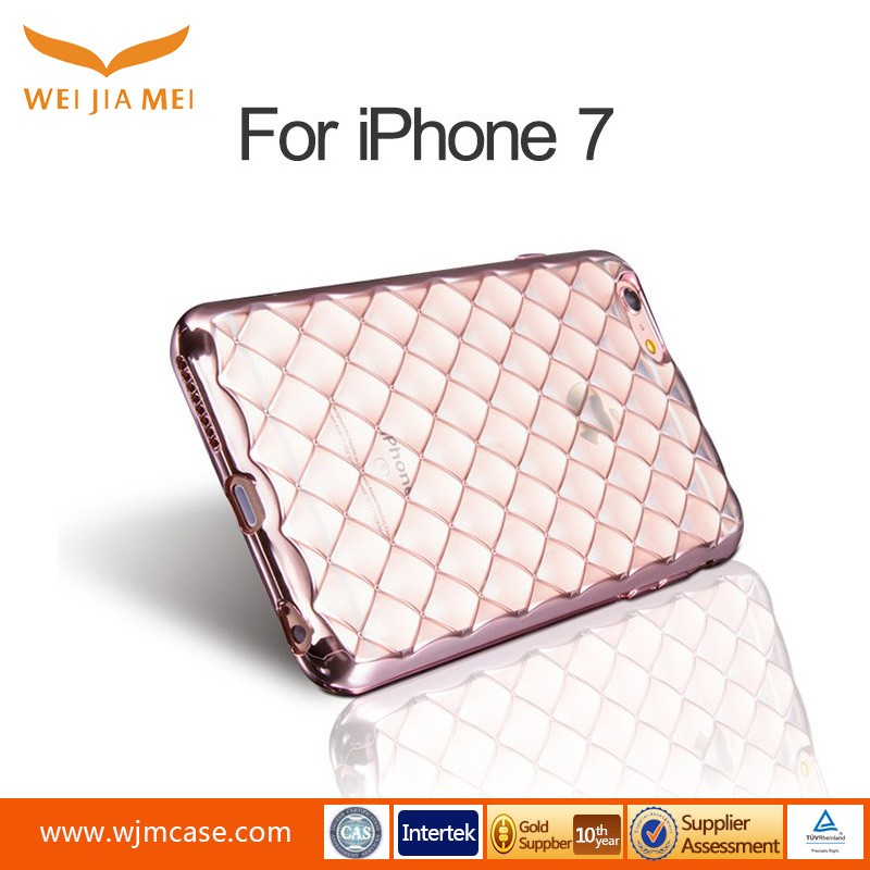 2017 New Arrival Soft TPU Back Cover Luxury Frame Case For iphone 7 metal