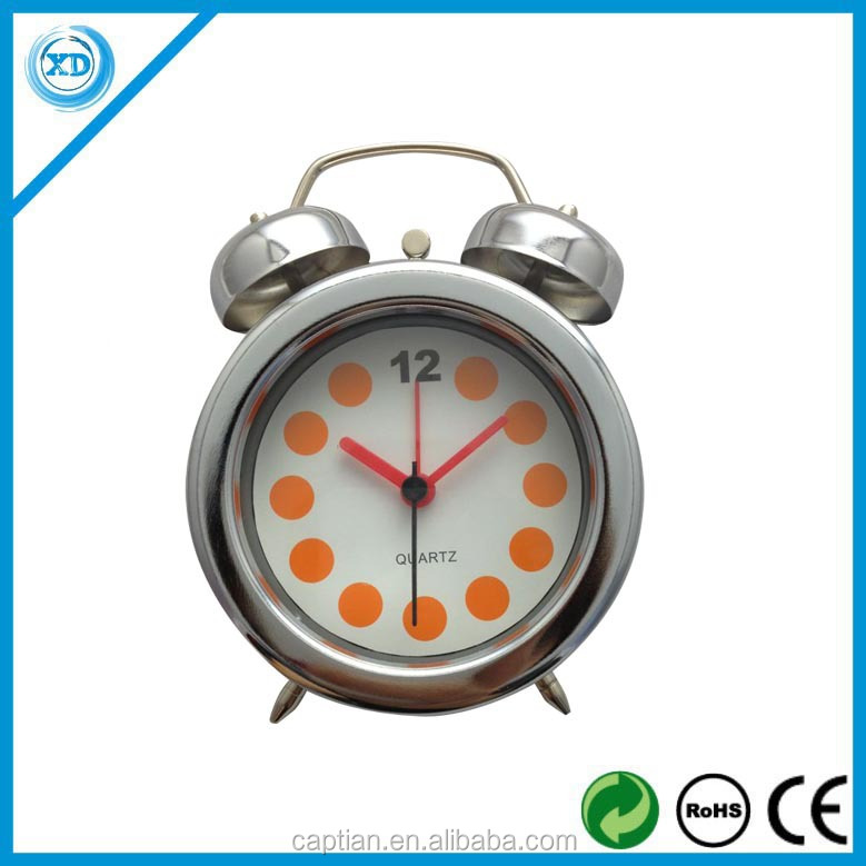 Small Metal twin bell alarm table clock