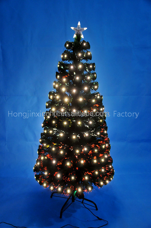 5ft Warm White Led Lights Christmas Tree With Top Star, Fiber Optic Xmas Tree Outdoor Cold Proofing