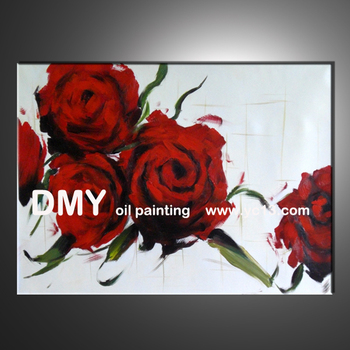 excellent wall hanging red rose flower oil painting