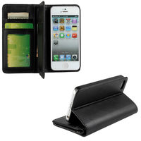 plain leather wallet cover case for apple iphone5 5s