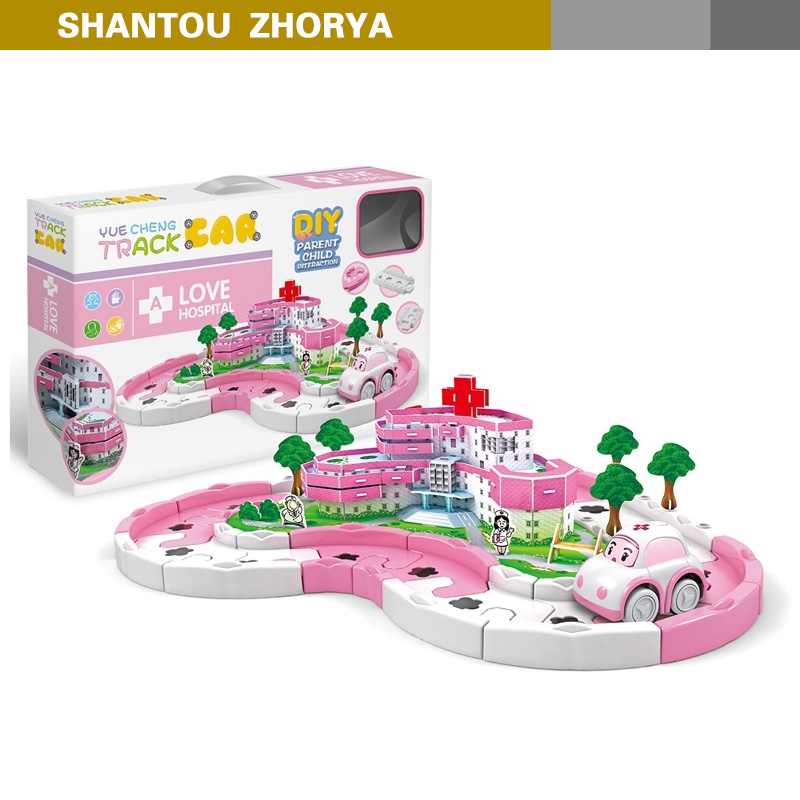 Zhorya hot selling track car toys DIY hospital track car toys lovely pink track car toys for girls