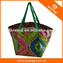 Customisable waterproof laminated pp woven tote beach bag with zipper