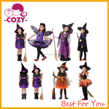 Girls Fairytale Toddler Witch Costume 2017 New Fashion Pretty primping girl dress kids halloween costume with witch hat