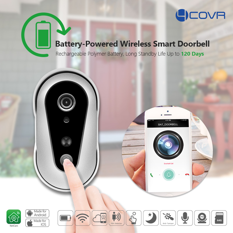 smart wireless home security Door Bell rechargable Battery powered Enabled Video Wifi Doorbell Camera