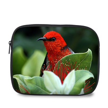 Stylish red bird print shockproof tablet pouch portable laptop sleeve bag for Ipad