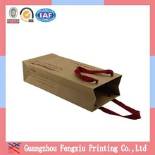 Printing Kraft Paper Bag for Wine Single Bottle with Handle