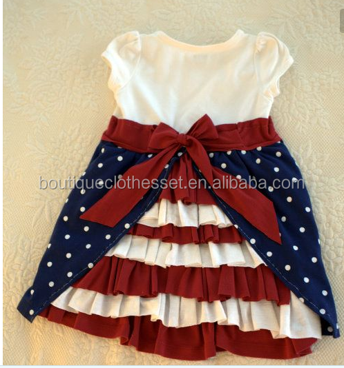 Boutique 4th of July dress lovely kids ruffle summer patriotic dress summer vacation dress