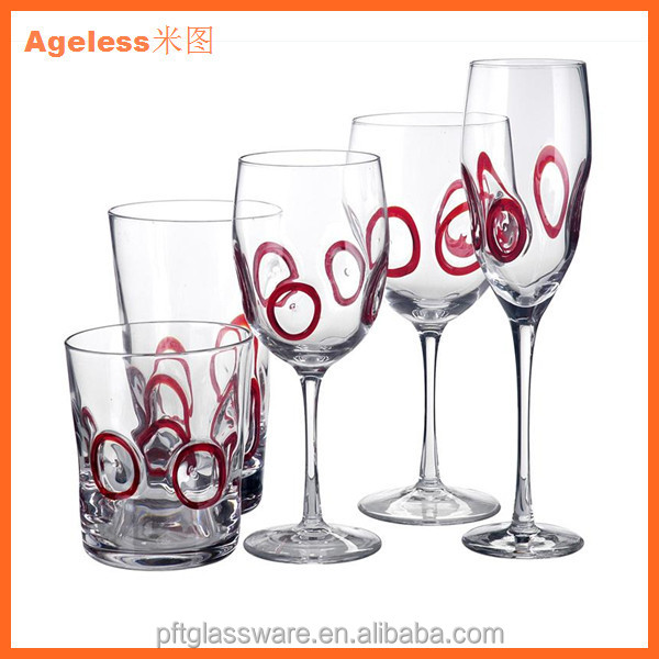 China Glassware Factory wine glass whole set for restaurant Hand-blown colored glass goblet