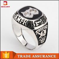 wholesale fashion class ring designs sport jewelry enamel silver rings for man